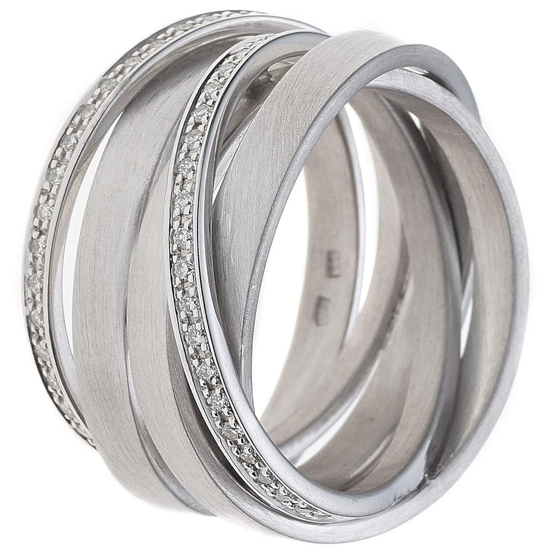 Krisma Bronchetty Damen Ring breit verschlungen 585 Gold Weißgold mattiert 47 Diamanten Brillanten bestellen