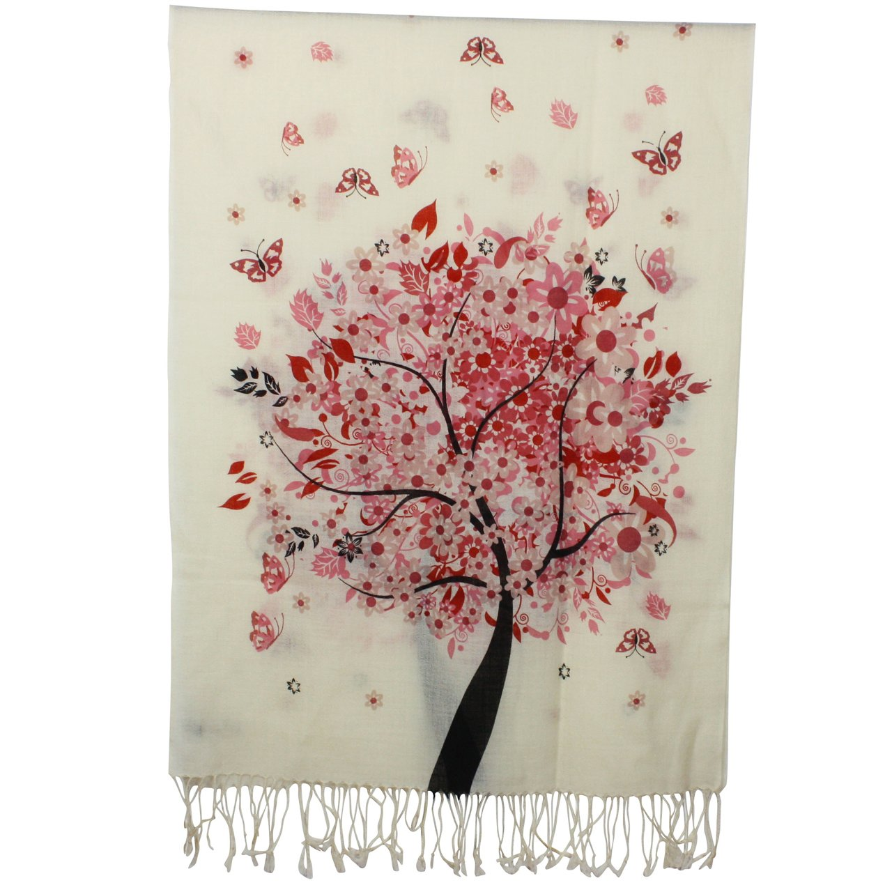 Spring Butterfly Pink Blossom Tree 100% Fine Wool Pashmina Tassel Ends Long Scarf Shawl