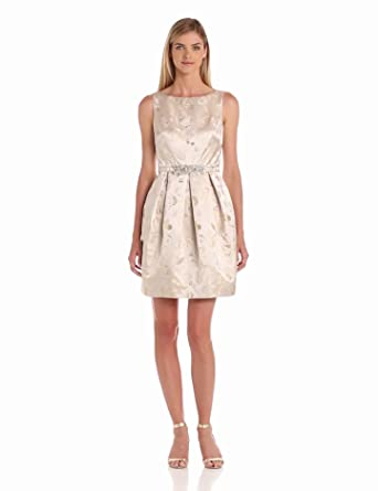 Eliza J Women's Fit And Flare Dress With Beaded Belt, Champagne, 14