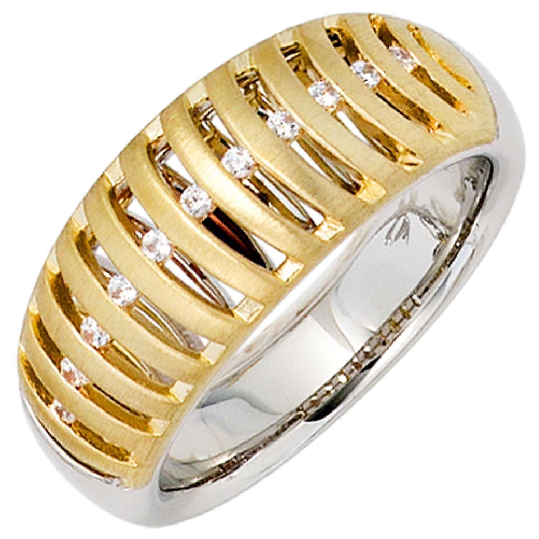 Damen-Ring 585 Bicolor Gold 11 Diamant-Brillanten online bestellen
