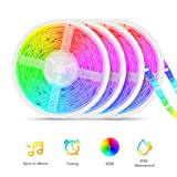 Led Strip Lights Sync to Music, Tasmor 65.6ft 5050 RGB Light Color Changing with Music IP65 Waterproof LED Rope Light with Controller for Home, Room, Bar, Party (Color: 65.6ft, Tamaño: 65.6ft)