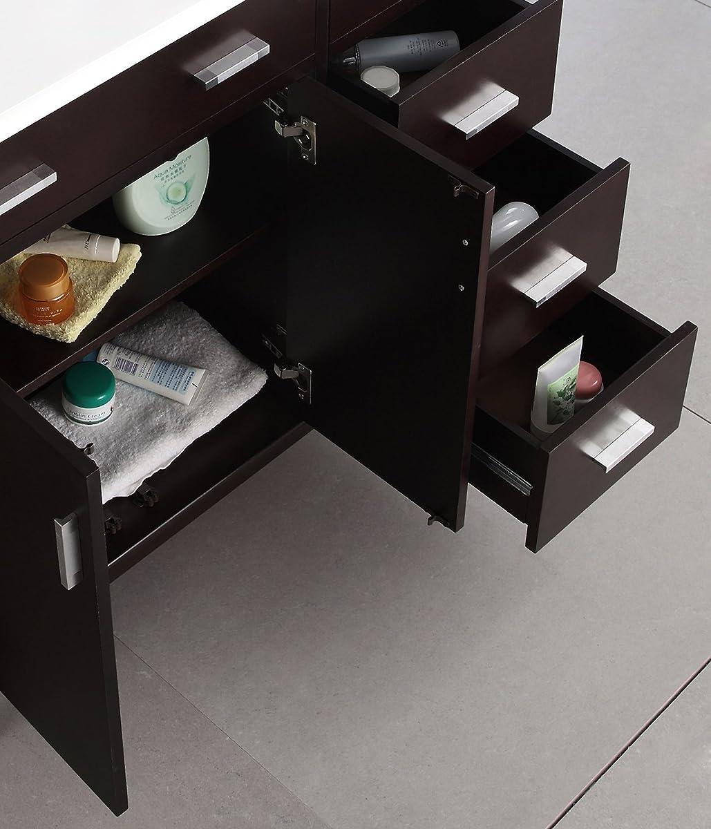 "Simpli Home Urban Loft 36"" Bath Vanity with Quartz Marble Top, Dark Espresso Brown"