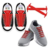 HOMAR Reflective No Tie Shoe Laces - Best in Alternative Shoelaces - Safty Dirtproof Waterproof Rubber Shoelaces Perfect Sneaker Boots Oxford Casual Shoes - Red