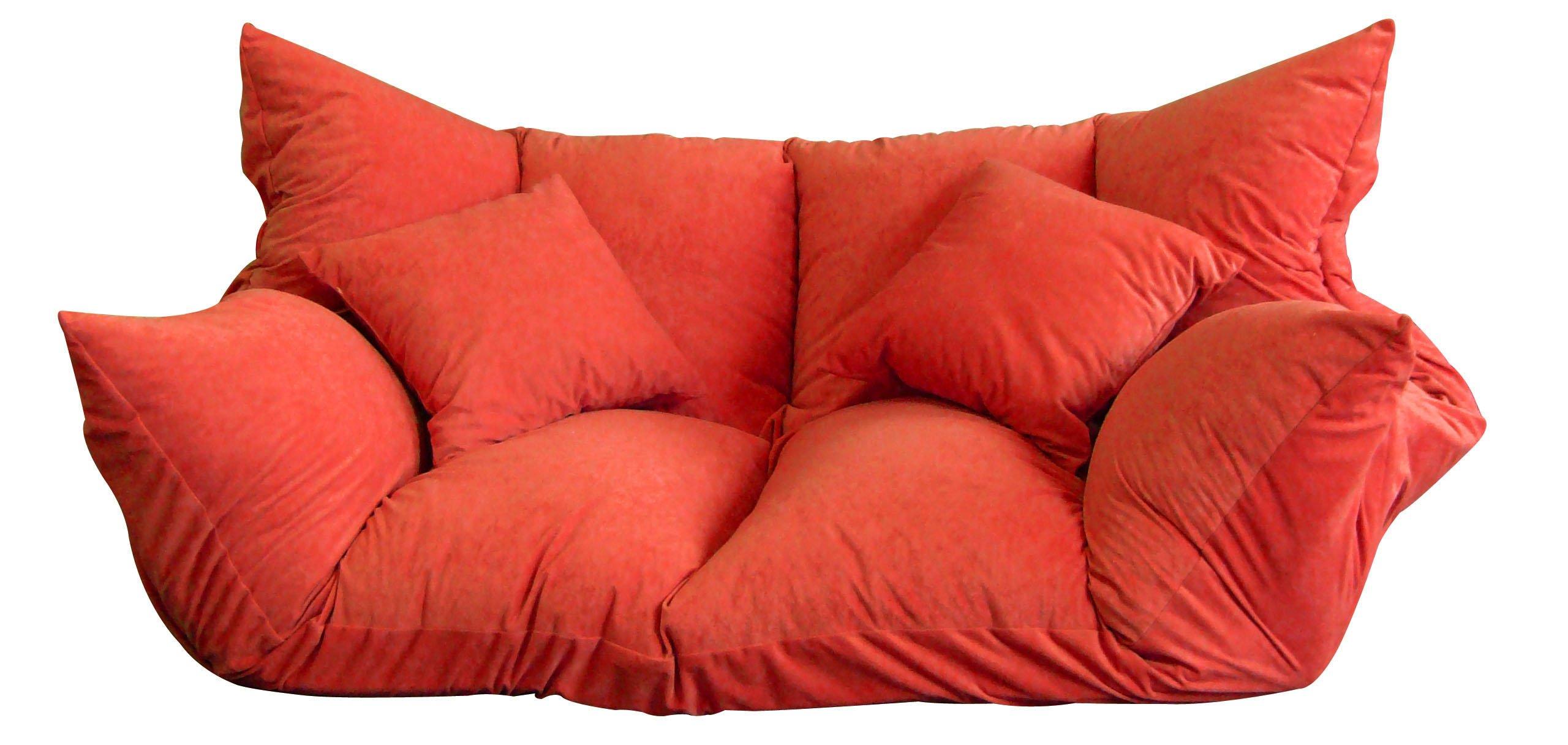 2人掛け ベッドとして使えるソファ ミニマルチ スエード調レッド FB1803