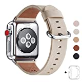 WFEAGL Compatible iWatch Band 38mm 40mm, Top Grain Leather Band Replacement Strap for iWatch Series 4,Series 3,Series 2,Series 1,Sport, Edition (Ivory White Band+Silver Buckle, 38mm 40mm) (Color: Ivory White Band+Silver Buckle, Tamaño: 38mm 40mm)