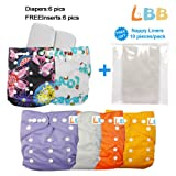Baby Pocket Cloth Diapers Reusable with Adjustable Snap, 6 pcs  6 Inserts
