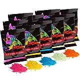 Holi UV Glow (Ultra Violet) Color Powder 12 Pack 70 Grams White,Yellow,Orange,Blue,Green,Pink (Color: White,Yellow,Orange,Blue,Green,pink)