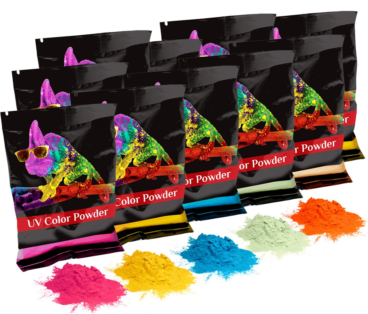 Holi UV Glow (Ultra Violet) Color Powder 12 Pack 70 Grams White,Yellow,Orange,Blue,Green,Pink