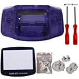 eJiasu Full Parts Replacement Housing Shell Repair Part Case Cover for Nintendo Gameboy Advance GBA (1PC GBA Shell Transparent Purple with Lens and Screwdriver) (Color: 1PC GBA Shell Transparent Purple with Lens and Screwdriver)