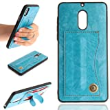 Nokia6 Case, Very Light Slim Auto Curved Finger Holder Movie Stand Back Cover ID Card Slots, WEIFA 2018 Newest Super Thin PU Leather Cellphone Case for Nokia 6 Plus Blue (Color: !Blue, Tamaño: Nokia6)