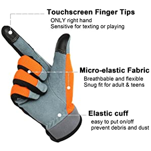 Gardening DIY Breathable and Snug-fit for Work OZERO Working Gloves with Genuine Deerskin Leather Palm and Sensitive Touch Screen Fingertips Women and Men Gray,Small Mechanics