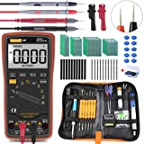 Auto Ranging Digital Multimeter TRMS 6000 with Battery Alligator Clips Test Leads AC/DC Voltage/Account,Voltage Alert, Amp/Ohm/Volt Multi Tester/Diode (Multimeter+Soldering Iron+PCB Board) (Tamaño: Multimeter+Soldering Iron+PCB Board)