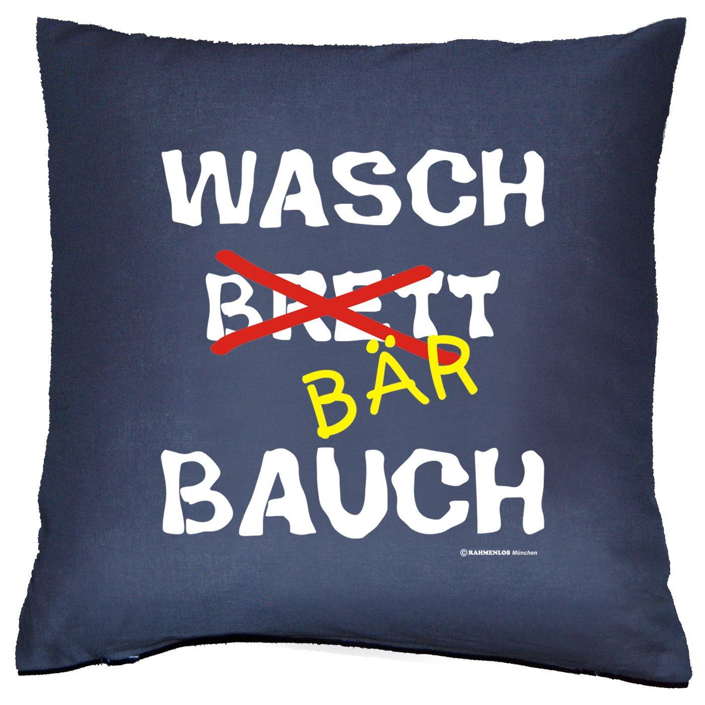 Sofa Fun Kissen mit Füllung - Spruch: Waschbärbauch - cooles lustiges Geschenk Couchkissen Sofakissen Dekokissen Geburtstag Weihnachten