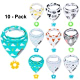 Baby Bandana Drool Bibs and Teething toys Made with 100% Organic Cotton, Super Absorbent and Soft Unisex (10 - Pack Unisex)