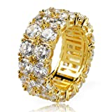 TOPGRILLZ 9mm 2 Rows 14K Gold and Silver Plated Iced out CZ Lab Diamond Eternity Wedding Engagement Band Ring (Color: Gold)
