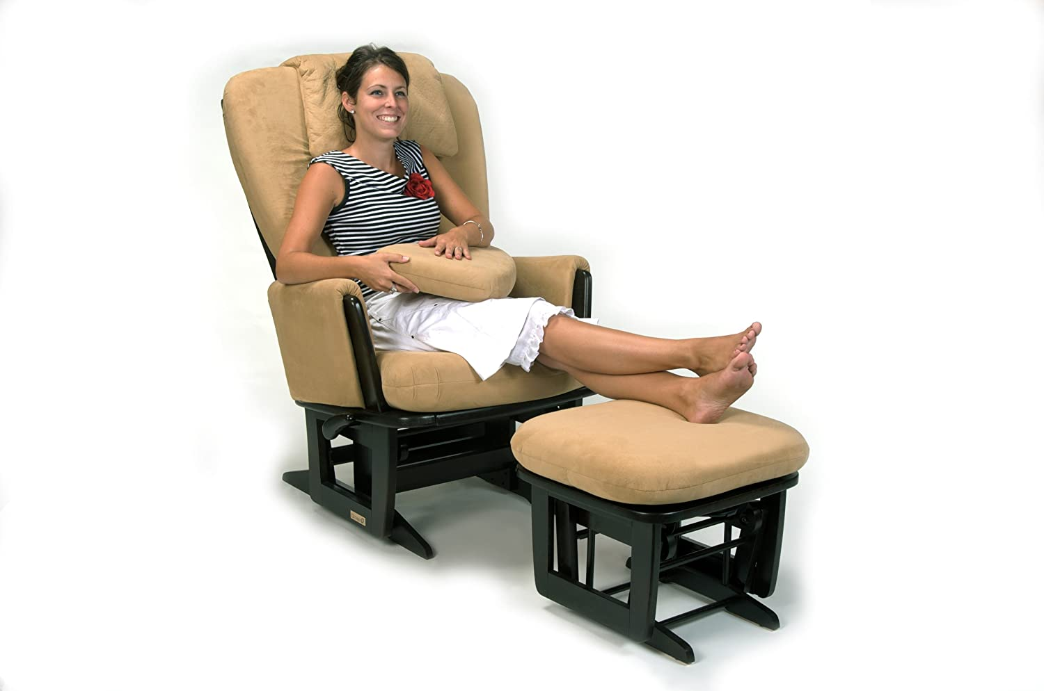 Dutailier Nursing Grand Modern Glider Chair with Built-In Feeding Pillows
