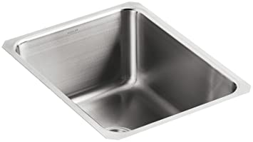 "Kohler K-3163-NA Undertone Squared Single-Basin Undercounter Kitchen Sink, 9-1/2"" Deep, Stainless Steel"