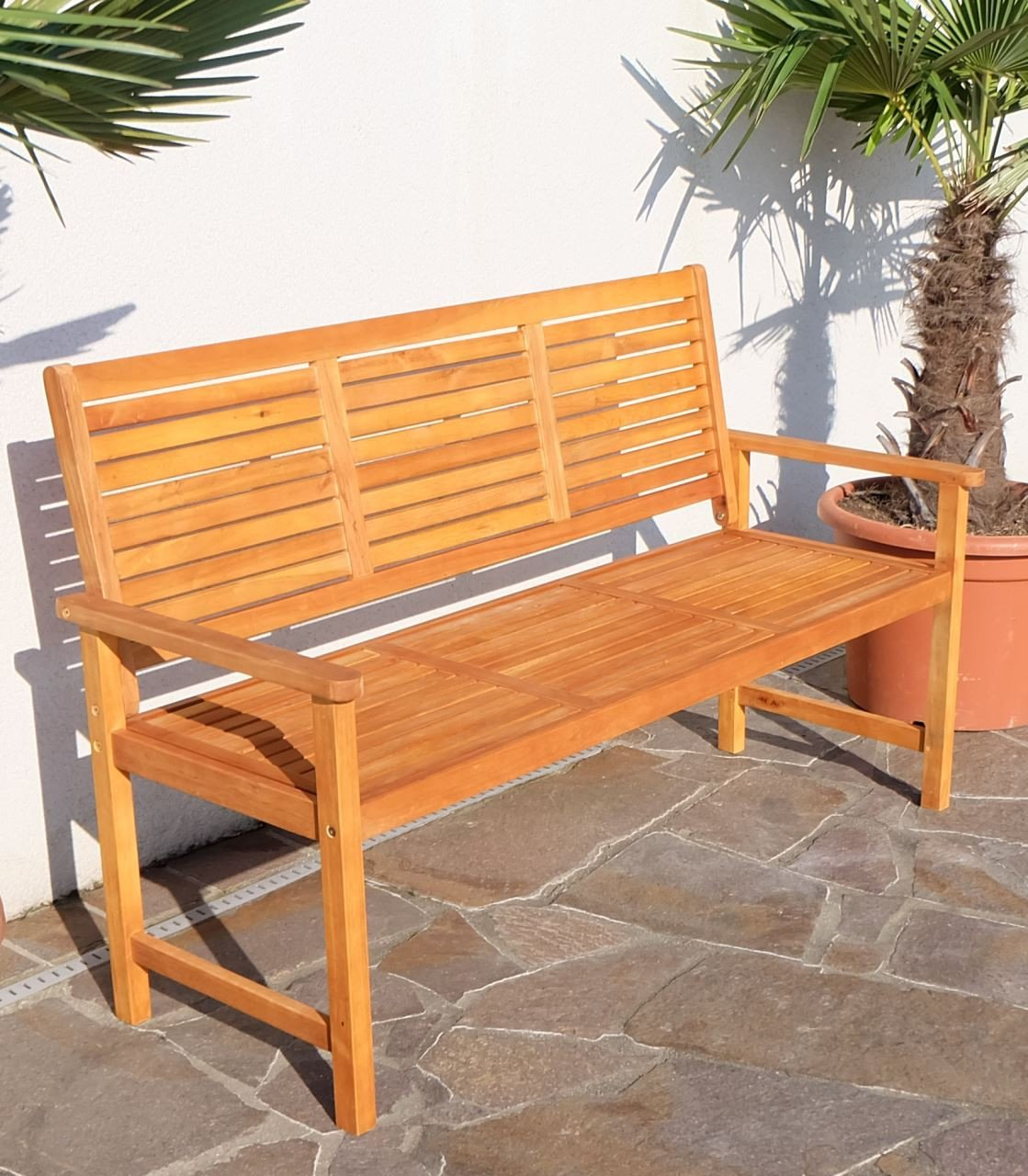 Design Gartenbank Parkbank Sitzbank 3-Sitzer Bank Gartenmöbel Holz Eukalyptus w.Teak Modell: 'SARIA-EU' von AS-S