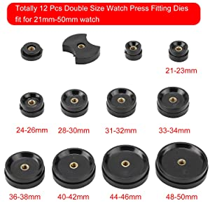 Professional 13 Piece Watch Press Set - Watch Back Press - Watch Back Case Closer Include 12 Dies with Metal Inserts (Black) (Color: Black)
