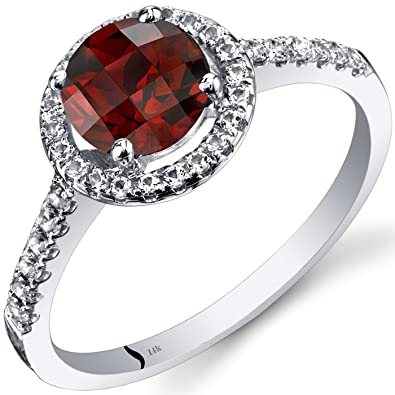 Revoni 14ct White Gold Garnet Halo Ring Round Checkerboard Cut 1.25 Carats