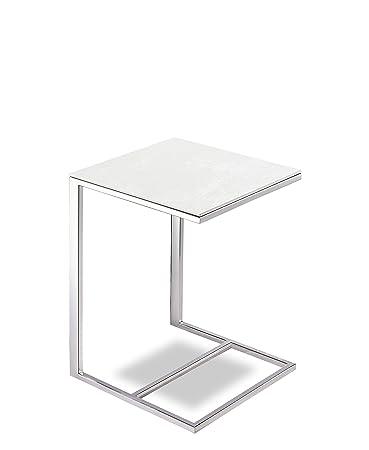 MASSIMILANO Couchtisch weiß, Couchtisch Edelstahl, couchtisch metall, LxBxH 40x40x52cm