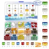 140 PCS Car Fuses Assortment Kit,Blade auto Fuses and Mini Flat Automotive Fuse kit 5A 7.5A 10A 15A 20A 25A 30A Car Motorcycle Truck SUV Automotive Replacement Fuses (Color: Colorful, Tamaño: Standard and mini)