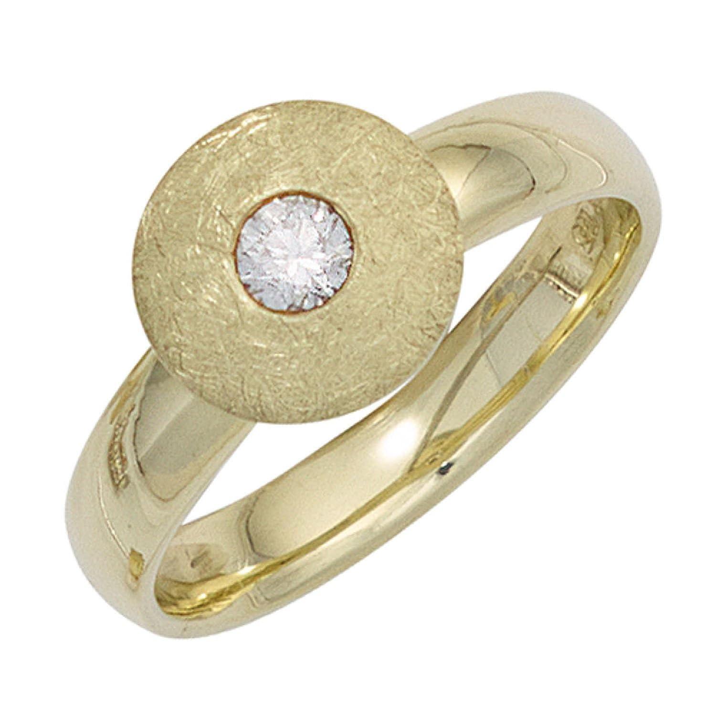 Damen Ring 585 Gelbgold teileismatt 1 Diamant Brillant 0,20ct. günstig online kaufen