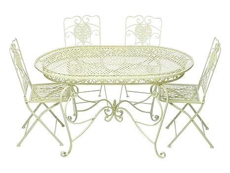 Conjunto mesa 4 sillas de hierro creamwhite muebles de jardín nostalgia estilo