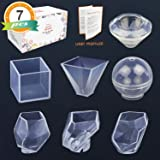 LET'S RESIN 7 Pack Resin Casting Molds -Ultra-High Transparent Resin Molds (made of liquid silica gel), Silicone Molds for Resin including Pyramid, Sphere, Diamond, Cube, Irregular Stones Molds (Color: paperweight molds)