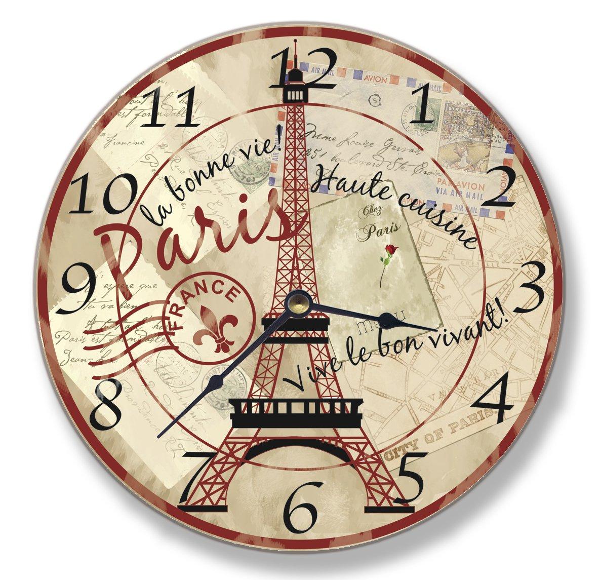 Stupell Home Paris Eiffel Tower Wall Clock