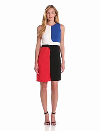 Donna Morgan Women's Sleeveless Sheath Dress with Color Blocking, Chalk/Black/Poppy Fire/Azure, 4