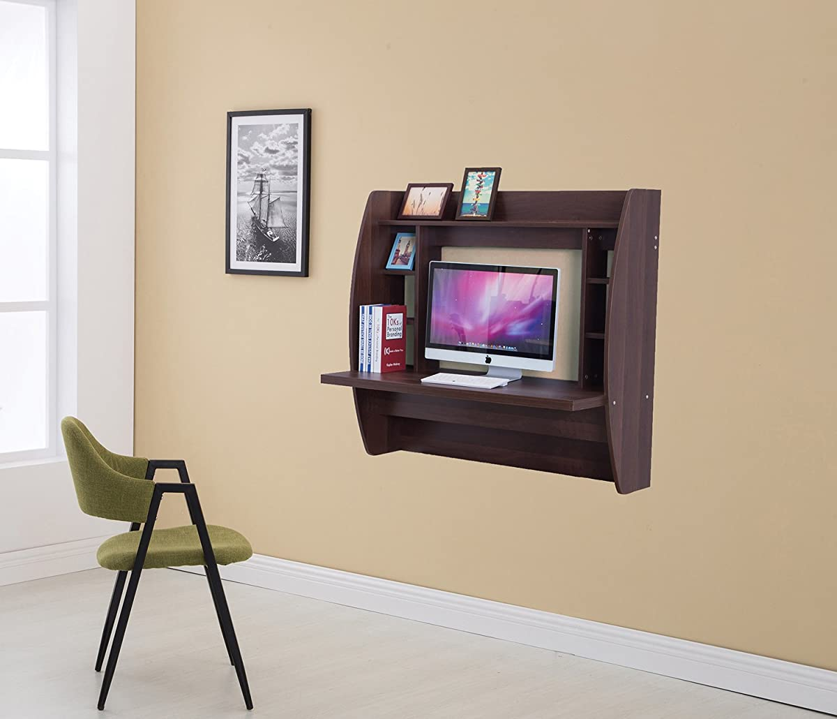 Wall Mounted Floating Desk with Storage (Brown)