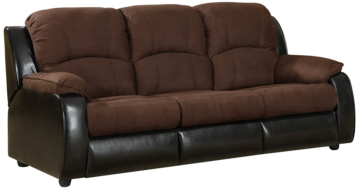 Furniture of America Adam Microfiber Sleeper Sofa - Brown