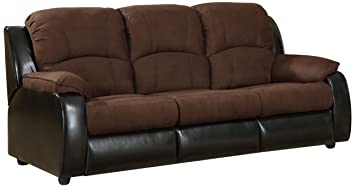 Furniture of America Adam Microfiber Sleeper Sofa, Brown
