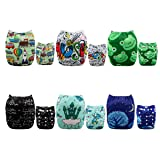 ALVABABY 6 Pack with 12 Inserts Baby diaper, Pocket Cloth Diapers Reusable Washable Adjustable for Baby Boys and Girls 6DM32 (Color: neutral color 6DM32, Tamaño: All in one)