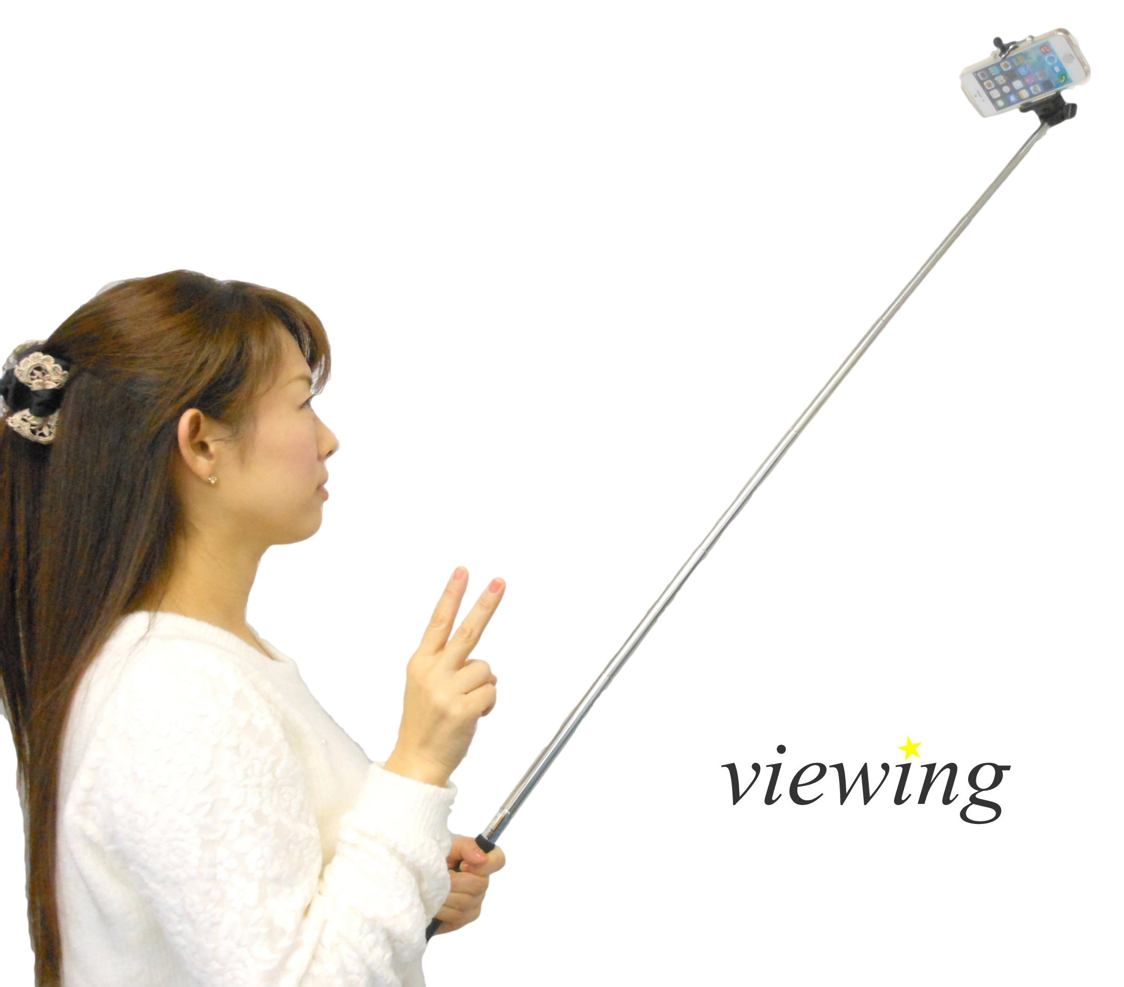 viewing(ヴューイング) スマホ & デジカメ & ハンディカム 自撮り キット セット 伸縮自在 (自分撮り一脚 + スマートフォンホルダーセット ホワイトシリコンワッシャー付き (iPhone全機種~GalaxyNoteサイズまで対応)