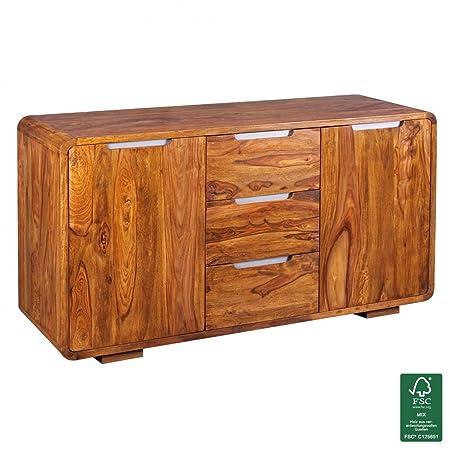 Wohnling Aparador madera maciza-Cómoda 145x 45cm, madera, naturaleza, Sheesham