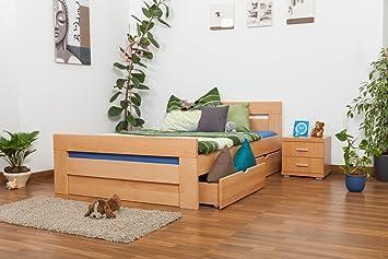 """Einzelbett / Funktionsbett """"Easy Sleep"""" K6 inkl. 2 Schubladen und 1 Abdeckblende, 140 x 200 cm Buche Vollholz massiv Natur"""