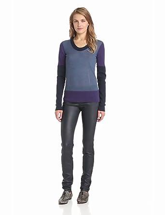 10 Crosby Derek Lam Women's Colorblock Merino Crew Neck Sweater, Purple Combo, Large
