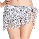MUNAFIE Women's Belly Dance Hip Scarf Performance Outfits Skirt Festival Clothing Silver