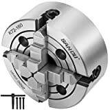 Mophorn 6Inch 160mm Metal Lathe Chuck 4-Jaw lathe chuck front mounting with Safety Chuck Key and Mounting Bolts Widely used for general lathes and industrial machines (Tamaño: 6