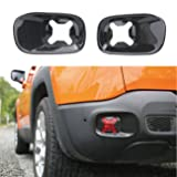 1 Pair Rear Tail Fog Light Lamp Frame Cover Trim for Jeep Renegade 2015-2017 Carbon Black