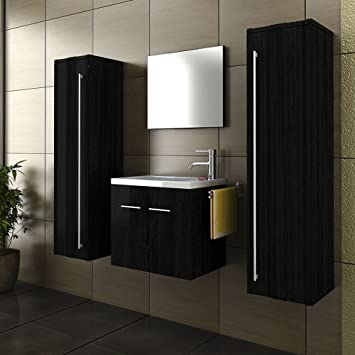 Bathroom Vanity SET In Black Matt Design Washbasin Two Tall Cupboards Black Guest Bathroom SET
