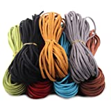 Micro-Fiber Flat Leather Lace Beading Thread Faux Suede Cord String Velet Beading Supplies(Mix 7 Colors Each 10 Yards)