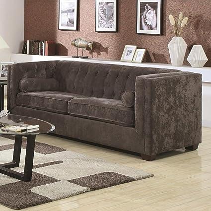 Alexa Velvet Sofa Color: Charcoal