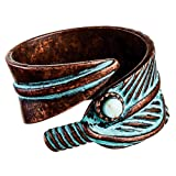 Rain Copper Patina Feathers Bypass Ring