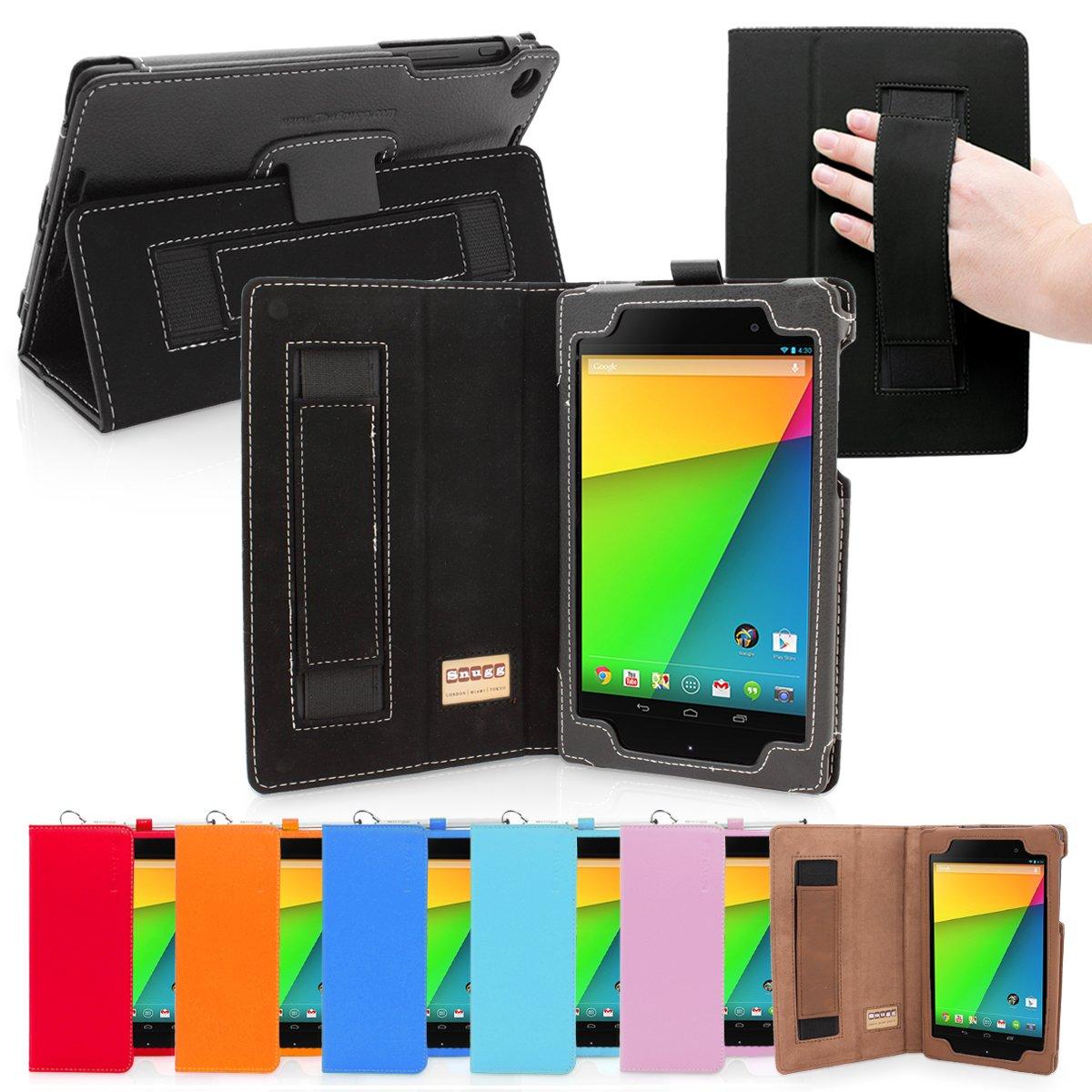 Snugg Nexus 7 FHD 2 Cuero funda en Negro, Funda con soporte plegable, correa de mano elastica, lazo para el lapiz stylus y un interior de fibra Nubuck de alta calidad, Automaticamente despierta y se pone a dormir Google Nexus 7 2.  Electrónica Comentarios y descripción más