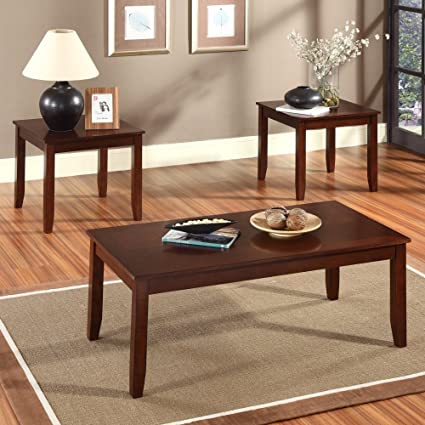 3 Piece Coffee Table Set Finish: Rich Brown Cherry