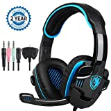 Game Headphone Gaming Headset Noise Cancelling Over Ear Headphone SADES SA-708GT 3.5mm Stereo Sound Music with Mic Volume Control Gamer Headphone for PS4 XBOX 360 Tablet PC Mobile Phones (Color: Black-Blue)