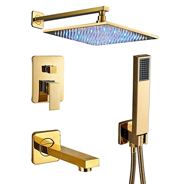 Senlesen Rain Mixer Shower Combo Set Wall Mounted 3 Way Shower System with 12 LED Light Rainfall Shower Head Handheld Shower and Tub Spout Faucet Gold Polish (Color: Gold)